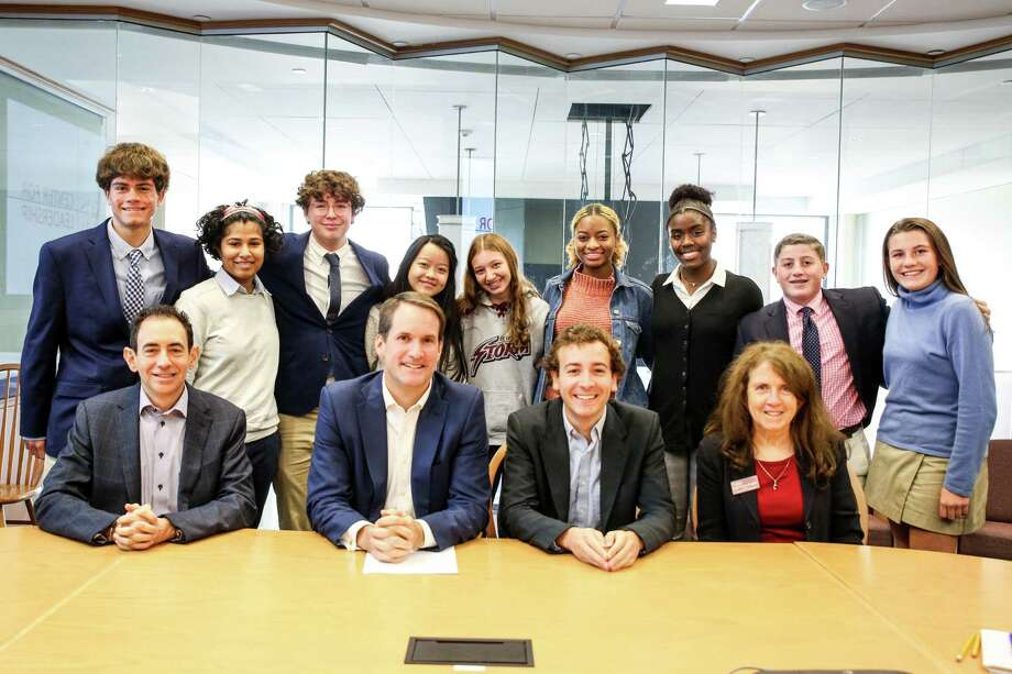 St. Luke's Leadership Lab: The Power of Public Policy's final session featured U S. Rep. Jim Himes and state Sen. Will Haskell. Photo: Valerie Parker / St. Luke's School / Contriuted Photo / @ St. Luke's School