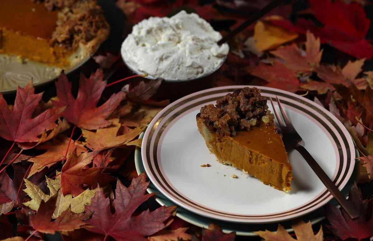 This version of pumpkin pie is topped with a nut-free ginger praline, made from ginger snap cookies and crystallized ginger. (Abel Uribe/Chicago Tribune/TNS)