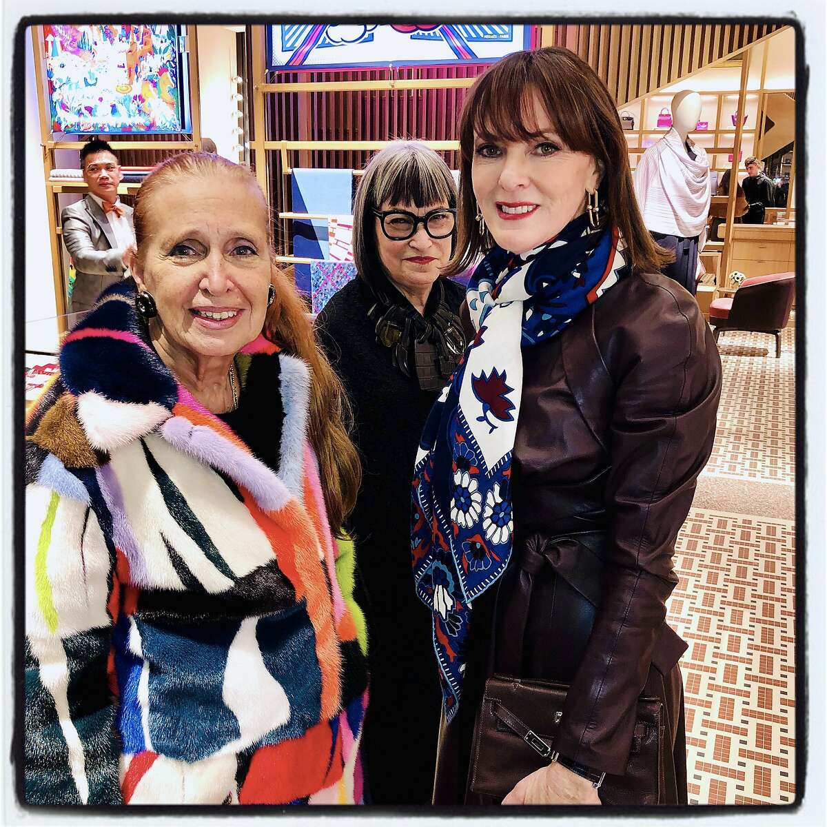 Author Danielle Steel (left) celebrates the Hermes reopening with Cynthia Frankel and Allison Speer on Nov. 14, 2019.