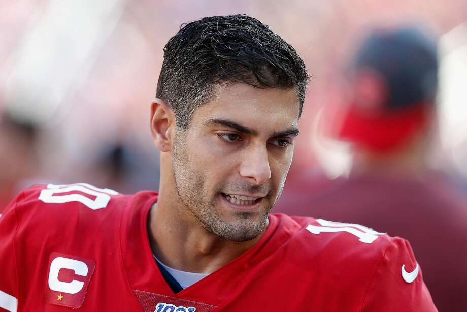 Quarterback Jimmy Garoppolo of the San Francisco 49ers on the sidelines at Levi's Stadium. Photo: Lachlan Cunningham, Getty Images