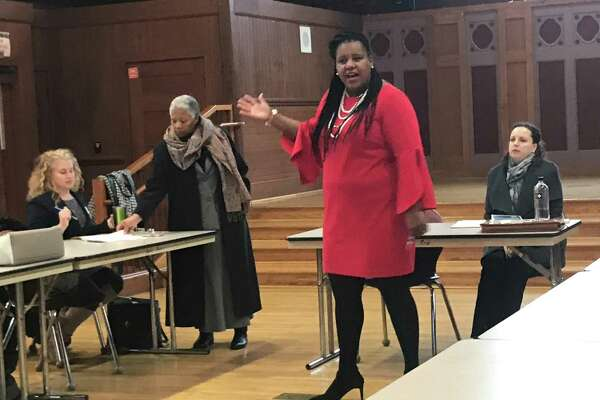 New Haven Director of Student Services Typhanie Jackson leads a meeting with other special education officials from New Haven, New Britain and Waterbury schools on Nov. 18, 2019.