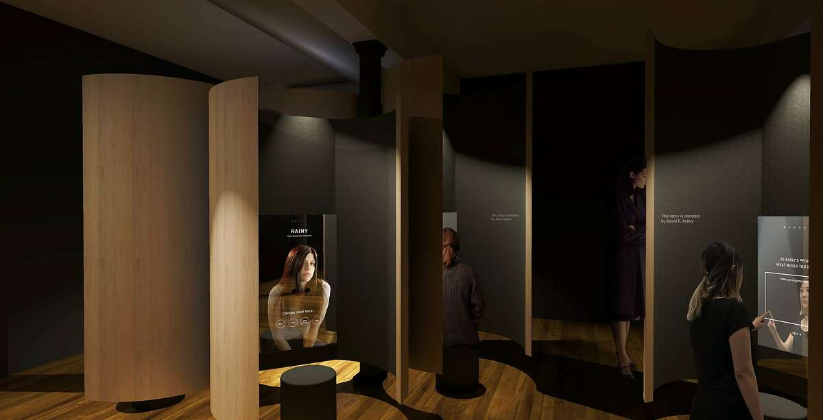 """A rendering of the """"empathy mirrors"""" exhibit at the Courage Museum. Visitors would be able to see themselves alongside stories of people impacted by violence."""