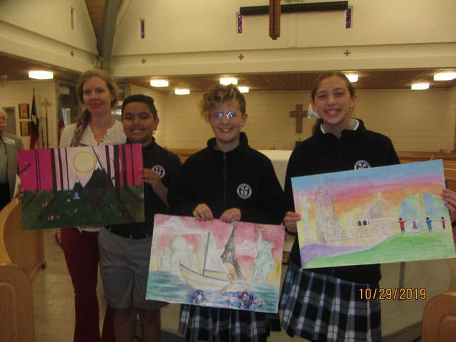 Trinity School winners are Shiv Patel, third place, from left, Modesta Welborn, first, and Brooklyn Pearson. Their art teacher is Amanda Lunson, far left, Photo: Courtesy Photo