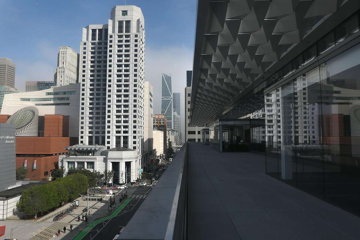 View of part of the patio deck expands almost the full front side of the third floor overlooking Howard St. at Moscone Center south on Thursday, Nov. 7, 2019, in San Francisco, Calif.