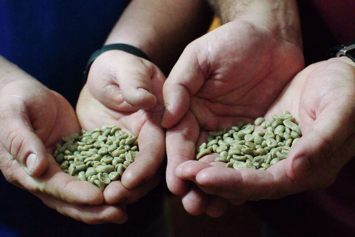 Green coffee beans are ready to be roasted and ground at Fair Dinkum Coffee Co.