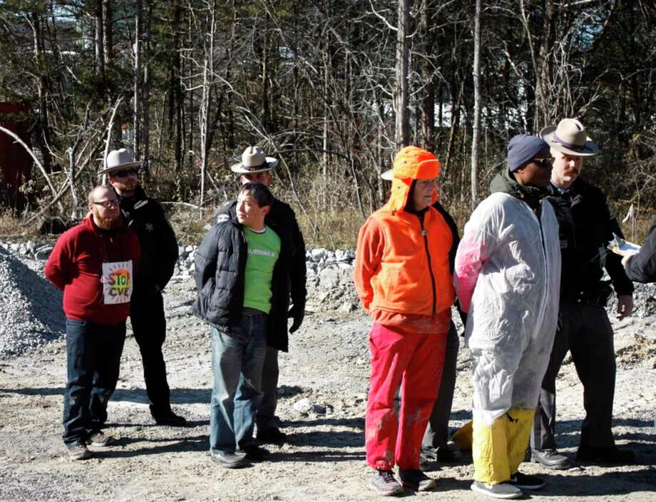 29 protesters were arrested on Saturday, November 16, at the Cricket Valley fracked gas plant (CVE) in Dover Plains, NY. A tractor blockade organized by the community group ResistCVE took place early in the morning. and four climbers scaled a 275-ft-tall smokestack and stayed at the top for 12 hours, resulting in a halt to CVE's construction. November 16, 2019, in Dover Plains, New York. Photo: Contributed Photo / The News-Times / The News-Times Contributed