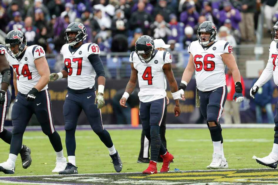 The Texans had every reason to hang their heads after playing an uncompetitive game at Baltimore on Sunday.