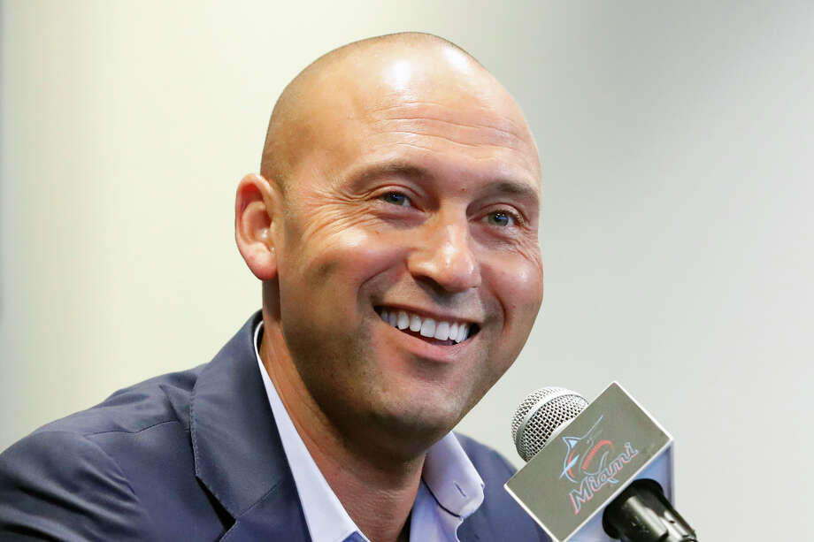 FILE - In this Sept. 20, 2019, file photo, Miami Marlins CEO Derek Jeter smiles as he speaks during a news conference in Miami. Derek Jeter is among 18 newcomers on the 2020 Hall of Fame ballot, announced Monday, Nov. 18, 2019, and is likely to be an overwhelming choice to join former New York Yankees teammate Mariano Rivera in Cooperstown after the reliever last year became the first unanimous pick by the Baseball Writers' Association of America. (AP Photo/Wilfredo Lee, File) Photo: Wilfredo Lee / Copyright 2019 The Associated Press. All rights reserved