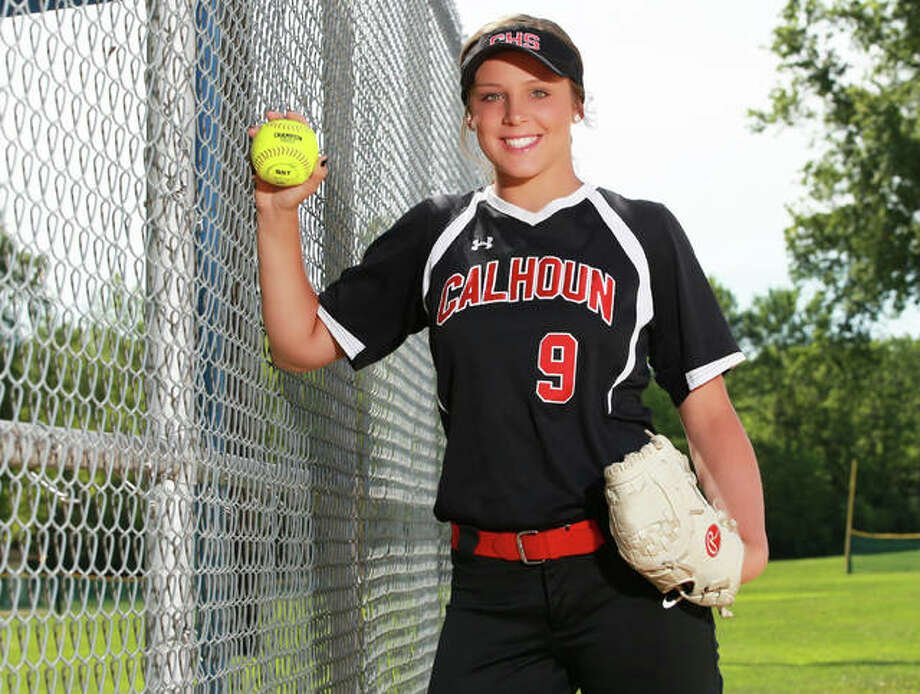 Calhoun's Sydney Baalman, the 2019 Telegraph Small-Schools Softball Player of the Year, is one of seven recruits announced by the SIUE Cougars for next season. Photo: Billy Hurst | For The Telegraph