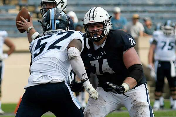 Yale offensive lineman Sterling Strother (74)