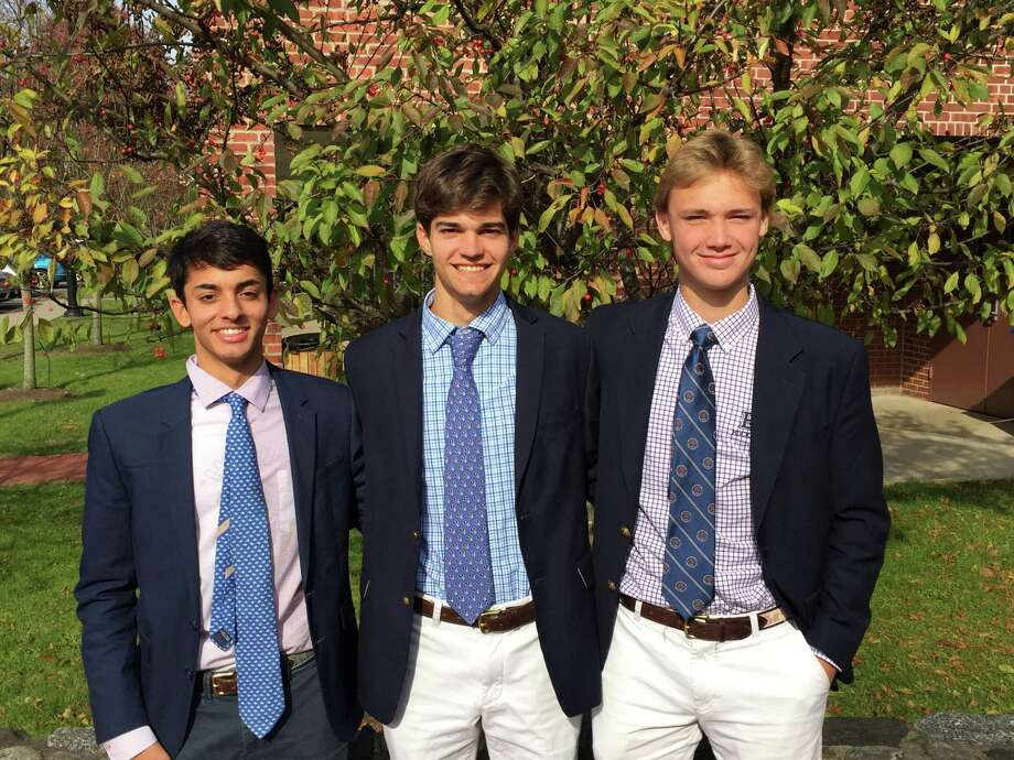 From left to right, Ryan Chinai, Kyle Raker and Henry Foster of the Brunswick School soccer team, each earned regional honors. Photo: Contributed Photo