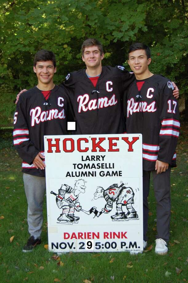 New Canaan senior co-captains, from left, Eric Wills, Bennett Ong and Justin Wietfeldt will help kick off the winter sports season at the annual Larry Tomaselli Alumni Game at 5 p.m., Friday, Nov. 29, at the Darien Ice Rink. Photo: Contributed / Hearst Connecticut Media / Hearst Connecticut Media