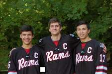 New Canaan senior co-captains, from left, Eric Wills, Bennett Ong and Justin Wietfeldt will help kick off the winter sports season at the annual Larry Tomaselli Alumni Game at 5 p.m., Friday, Nov. 29, at the Darien Ice Rink.