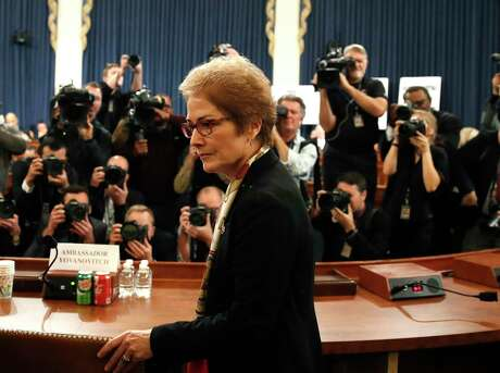 Former U.S. Ambassador to Ukraine Marie Yovanovitch arrives to testify to the House Intelligence Committee on Capitol Hill in Washington on Friday. U.S. policy to Ukraine is based on the assumption that propping up Democracy there is essential to our interests. But many in the public probably don't share this assumption.
