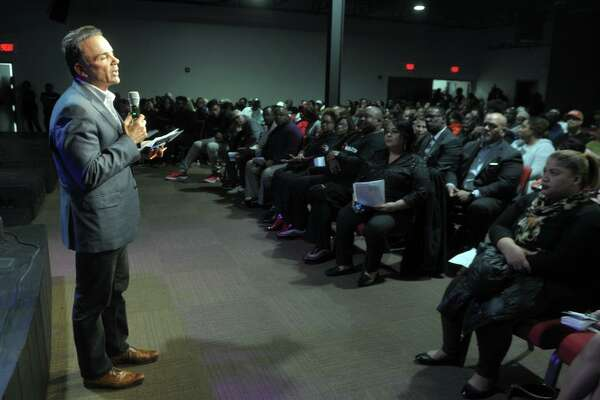 Mayor Joe Ganim speaks during a question and answer session at the Faith Acts for Education community forum held at New Vision International Ministries, in Bridgeport, Conn. Nov. 18, 2019.