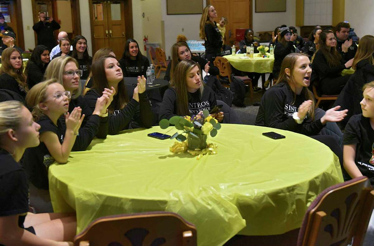 College of Saint Rose women's soccer team reacts after finding out they're going up against Daemen in the Division II NCAA Tournament during a watch party on campus on Monday, Nov. 18, 2019 in Albany, N.Y. (Lori Van Buren/Times Union)