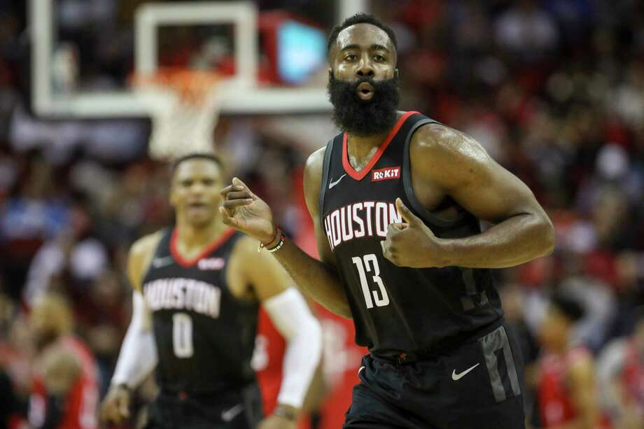 Houston Rockets guard James Harden (13) celebrates during the second quarter of an NBA basketball game at the Toyota Center on Monday, Nov. 18, 2019, in Houston. Photo: Jon Shapley, Staff Photographer / © 2019 Houston Chronicle