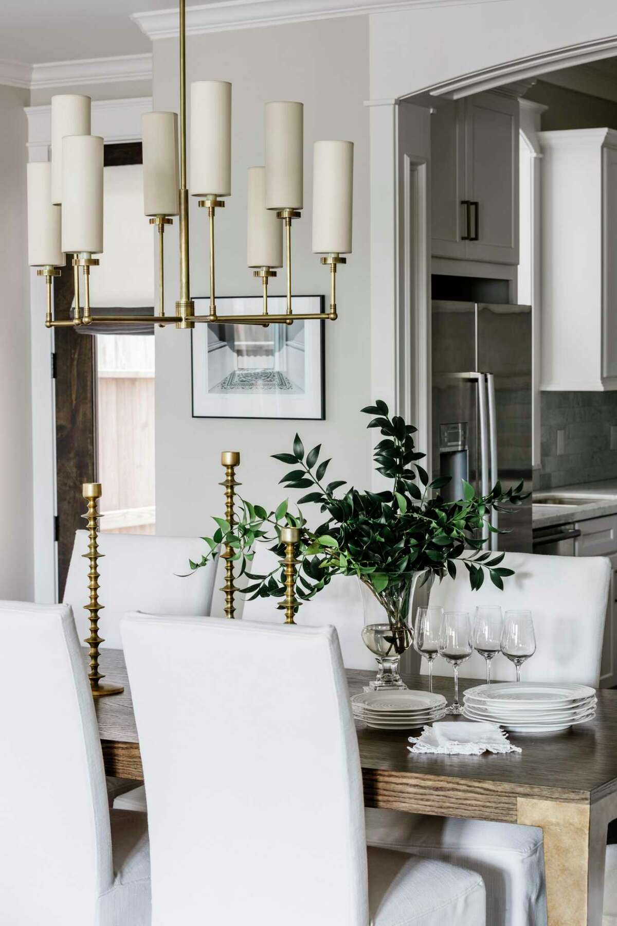 The dining area in the Houston home of Julia and Andrew Novarini.