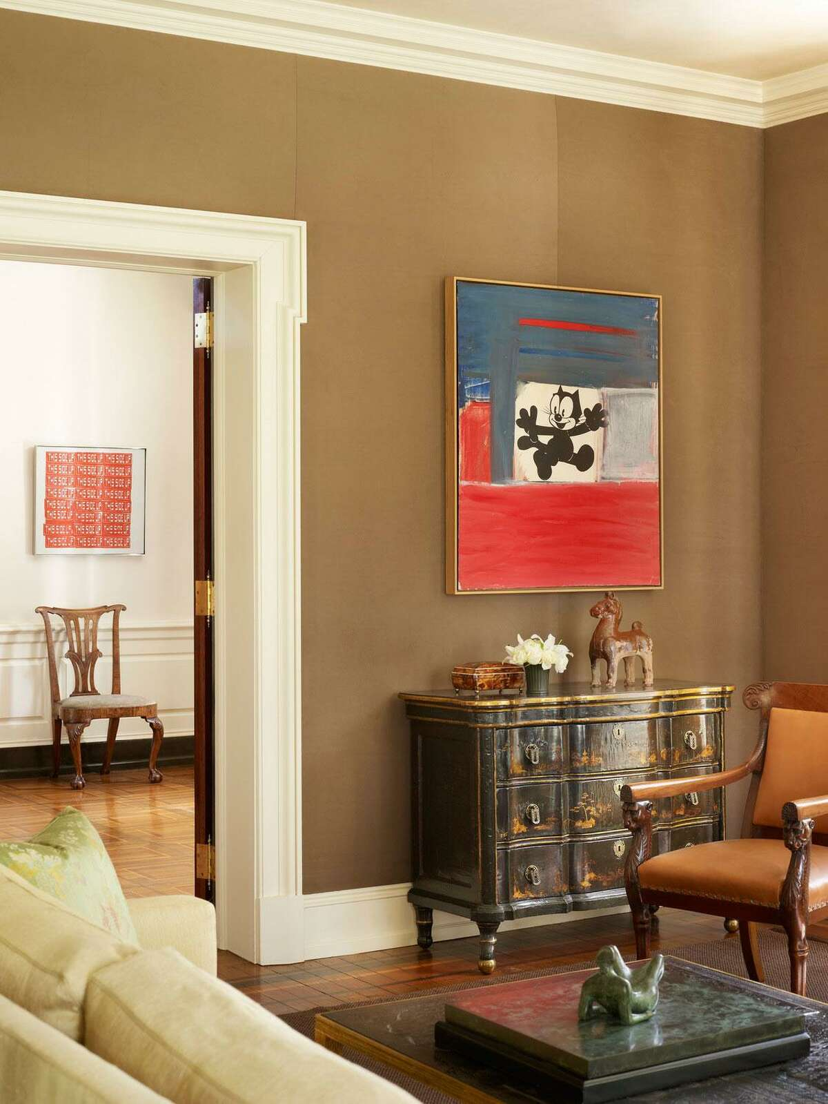 """A house of a collector of Post War art, Wynnewood, Penn., reflects an affection for old items. """"Vintage art is a way to add antiquity,"""" Thomas Jayne of Jayne Design Studio New York says."""