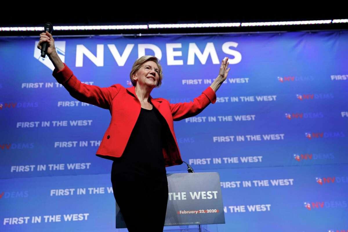 Democratic presidential candidate Sen. Elizabeth Warren, D-Mass., speaks during a fundraiser for the Nevada Democratic Party, Sunday, Nov. 17, 2019, in Las Vegas. (AP Photo/John Locher)