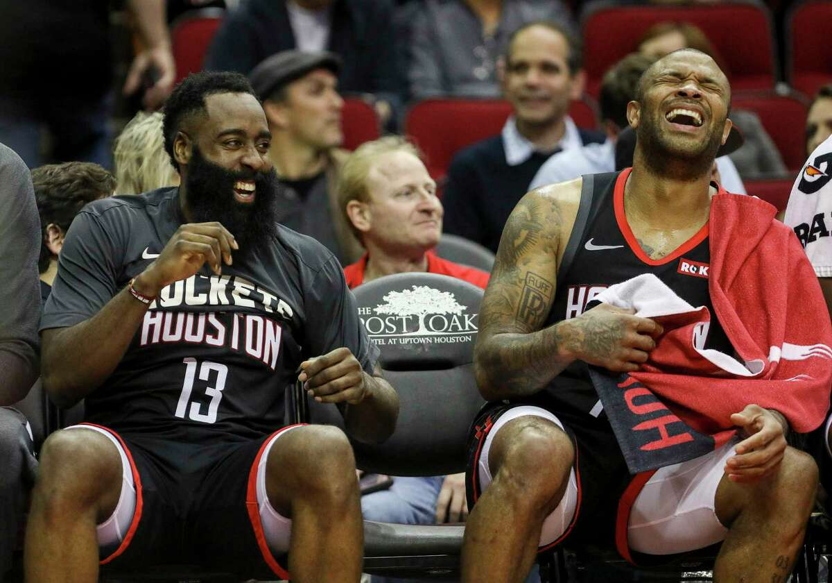 James Harden and P.J. Tucker had plenty to laugh about Monday as the Rockets pushed their winning streak to an NBA-best eight games.