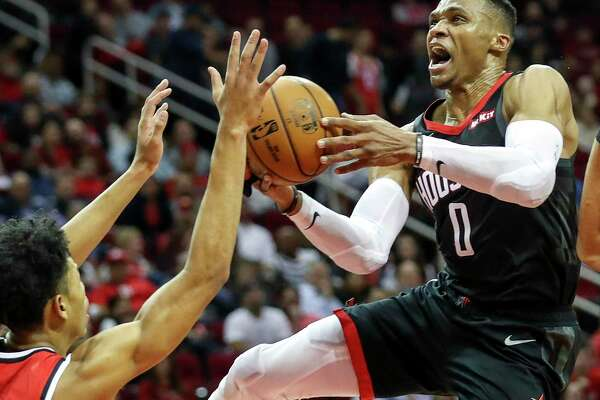 Rockets guard Russell Westbrook totaled 28 points, 13 rebounds and 10 assists Monday night in producing his third triple-double of the season.