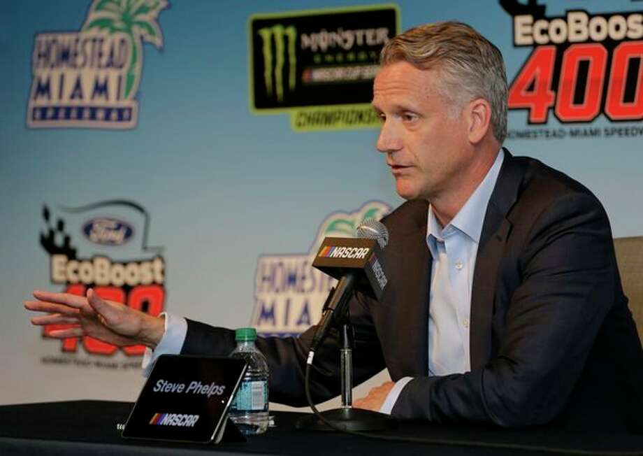 NASCAR President Steve Phelps speaks to the media during a press conference before the NASCAR Cup Series auto race on Sunday at Homestead-Miami Speedway in Homestead, Fla. (AP Photo/Terry Renna) / Copyright 2019 The Associated Press. All rights reserved
