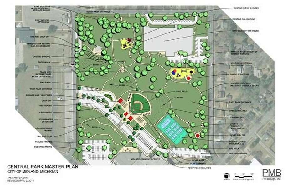 A rendering of Central Park's master plan in Midland shows additional parking, courts and a new barrier-free baseball field. (Photo provided)