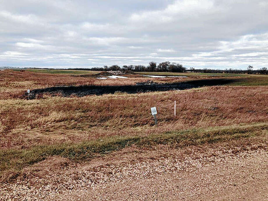 An Oct. 30 photo from the North Dakota Department of Environmental Quality shows affected land from a Keystone oil pipeline leak near Edinburg, North Dakota. The leak reported on Oct. 29 now is estimated by state regulators to have affected about 209,100 square feet of land near Edinburg. State regulators had said the leak affected about 22,500 square feet of land. Photo: North Dakota Department Of Environmental Quality | Taylor DeVries