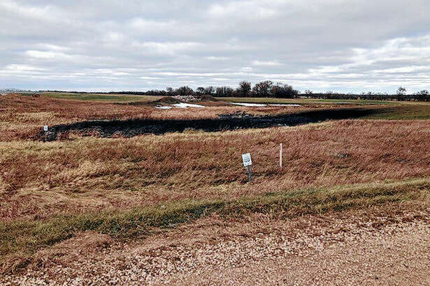 An Oct. 30 photo from the North Dakota Department of Environmental Quality shows affected land from a Keystone oil pipeline leak near Edinburg, North Dakota. The leak reported on Oct. 29 now is estimated by state regulators to have affected about 209,100 square feet of land near Edinburg. State regulators had said the leak affected about 22,500 square feet of land.