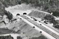 Construction of what is now known as the Heroes Tunnel,  1,200-foot-long tunnel carrying Route 15 through West Rock Ridge in New Haven, circa 1948.