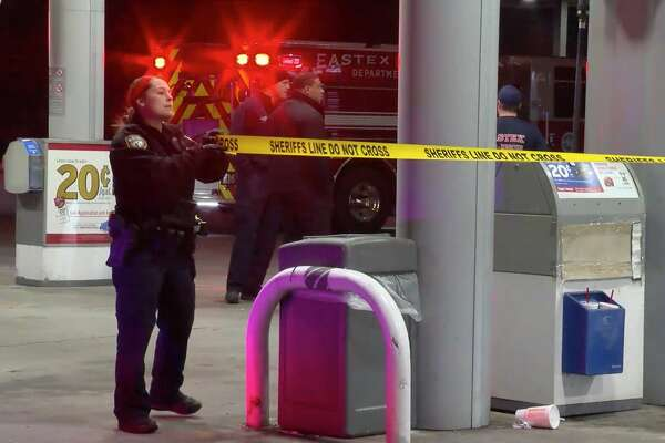 Harris County Sheriff's Office deputies investigate after three women were shot during a massive brawl Tuesday, Nov. 19, 2019.