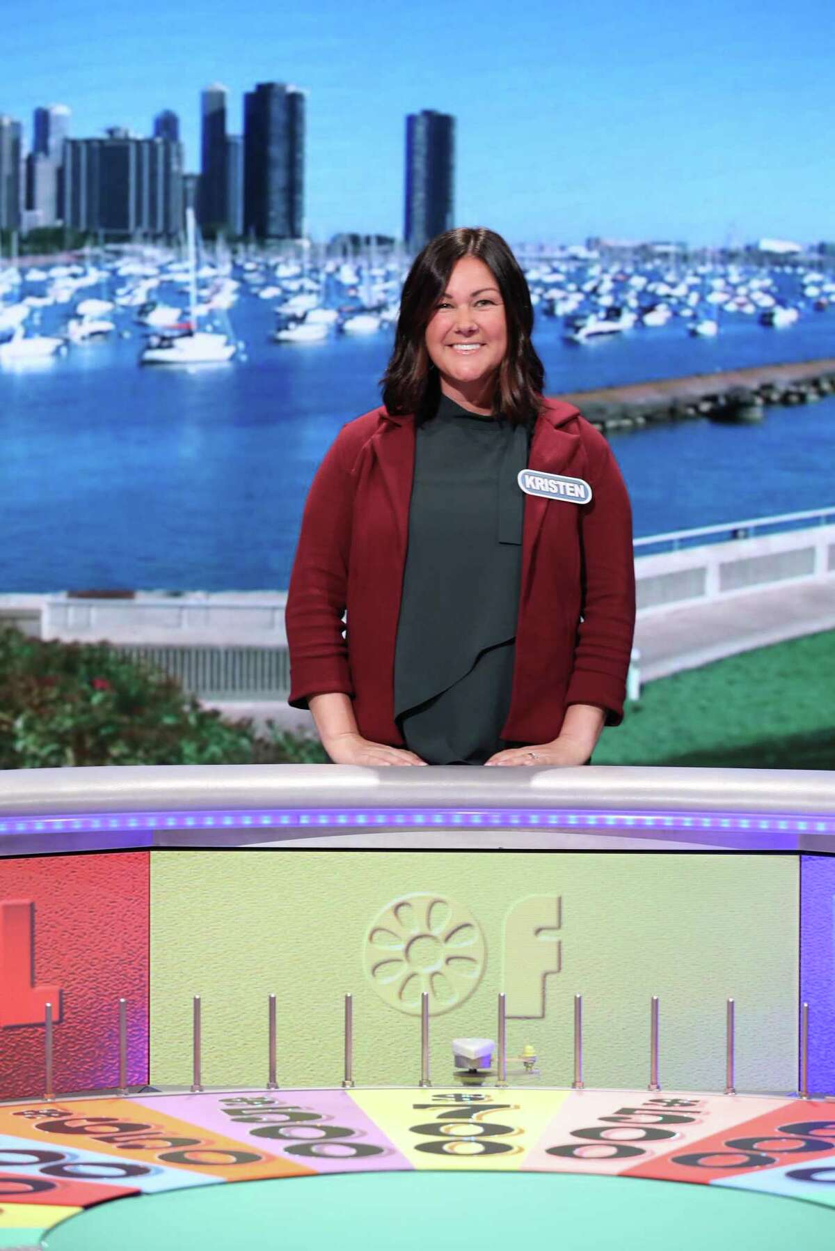 Elizabeth Shelton School first grade teacher Kristen Zack on the set of Wheel of Fortune. She appeared on the ABC show Tuesday, Nov. 16.