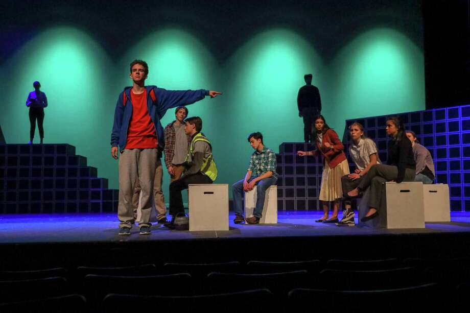 Jackson Wood and the Company of The Curious Incident of the Dog in the Night-Time Photo: Theatre 308