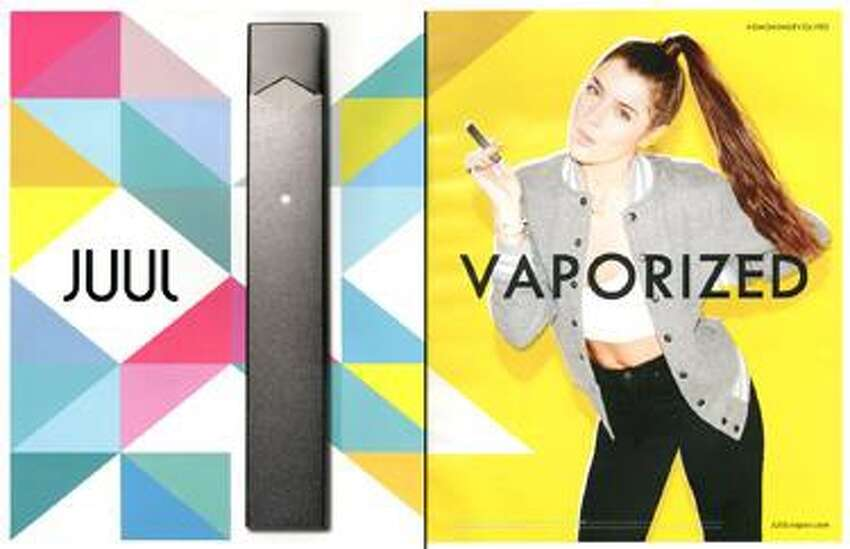 New York State Attorney General Letitia James is suing e-cigarette giant Juul Labs, alleging its advertising and social media campaigns targeted minors with bright, colorful images and provocative images, social media hashtags and catchy flavor names. Above is an example of one such ad.