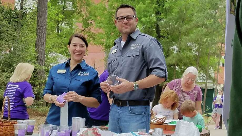 Debbie McMullen and Eric Wolfe at the Wildlife Expo, Spring 2018. The Master Naturalists regularly do outreach work at local events, along with their work helping to maintain local natural areas. Photo: Provided