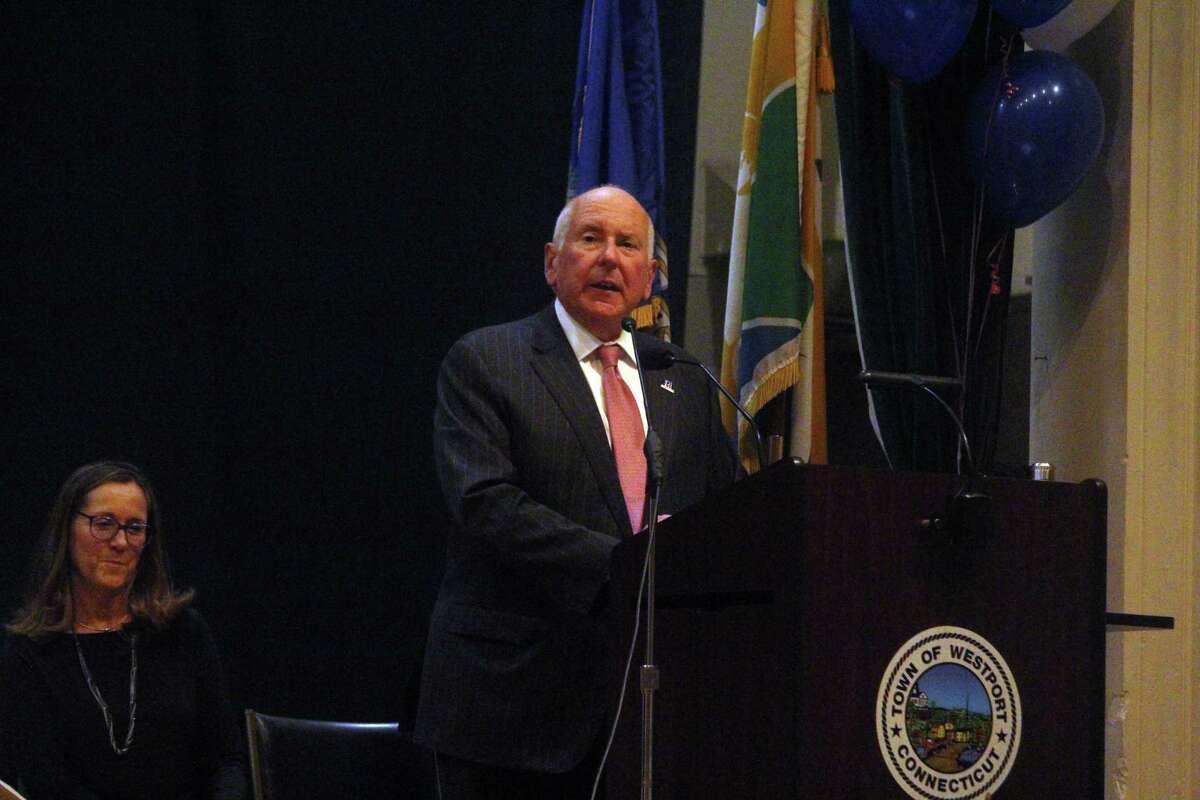 First Selectman Jim Marpe addresses a crowd at Westport Town Hall in November.