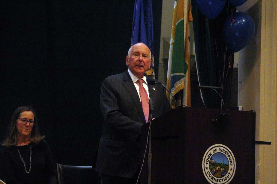 First Selectman Jim Marpe addresses a crowd at Westport Town Hall in November. Photo: Hearst Connecticut Media File Photo
