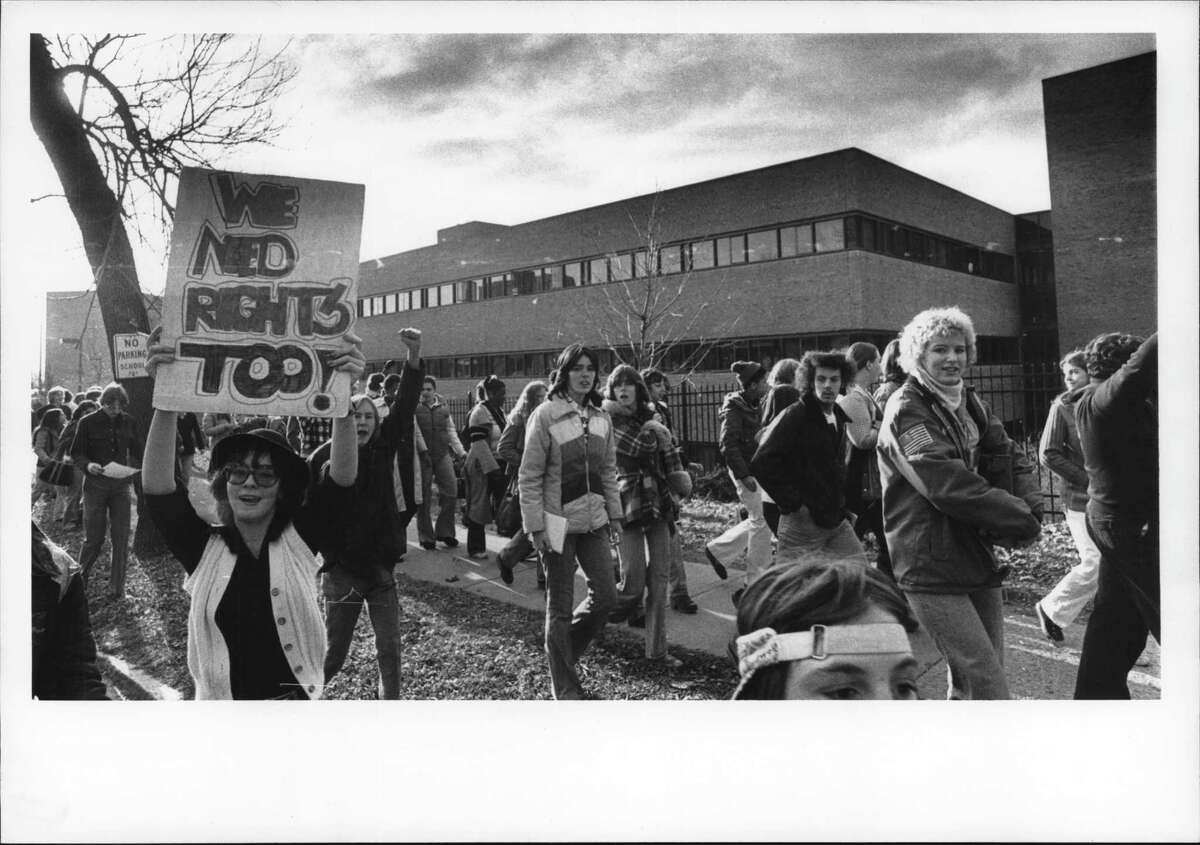On this date, November 17, 1971: Albany High School student demonstration, New York - kids walk out from the high school this morning. November 17, 1971.