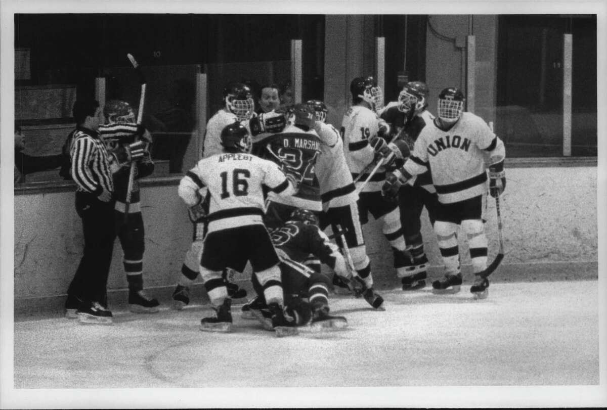 On this date, November 19, 1985: Union College vs. State University of New York (SUNY), Plattsburgh college hockey, Schenectady, New York - fight during 2nd period action. November 19, 1985.