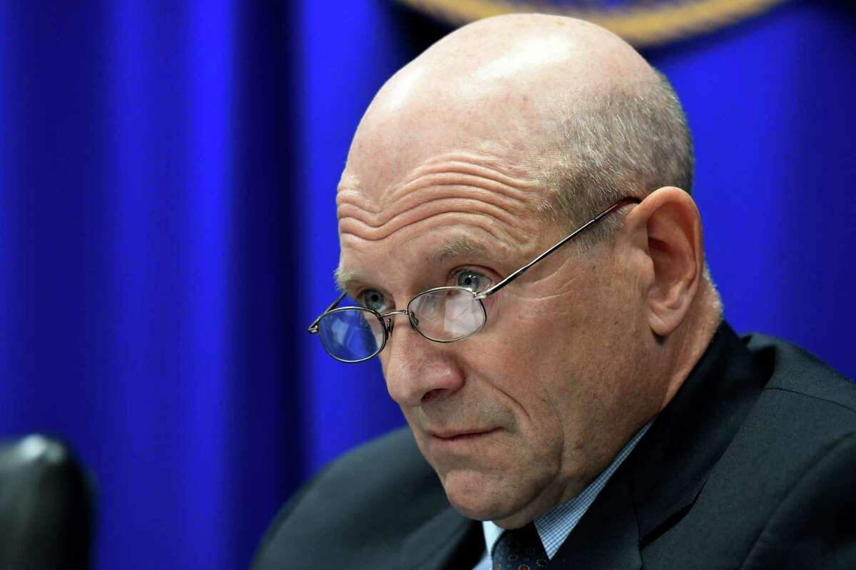 George H. Weissman, Joint Commission on Public Ethics commissioner, weighs on whether to release an inspector general's leak probe letter on Tuesday, Nov. 19, 2019, during a meeting in Albany, N.Y. The letter was received last month from the state inspector general's office explaining why it had failed to substantiate an alleged leak from the ethics watchdog's secret deliberations. (Will Waldron/Times Union)