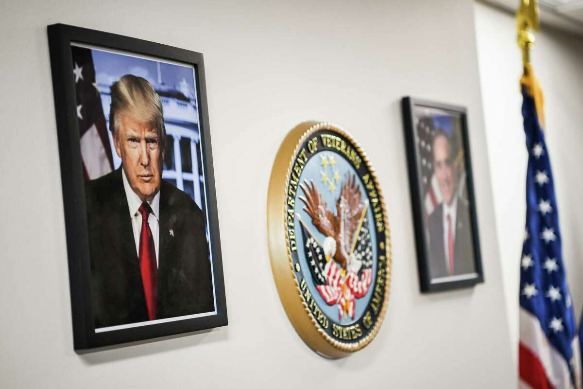 A framed portrait of President Trump is seen in September 2017, at the Department of Veterans Affairs office in Washington, D.C.