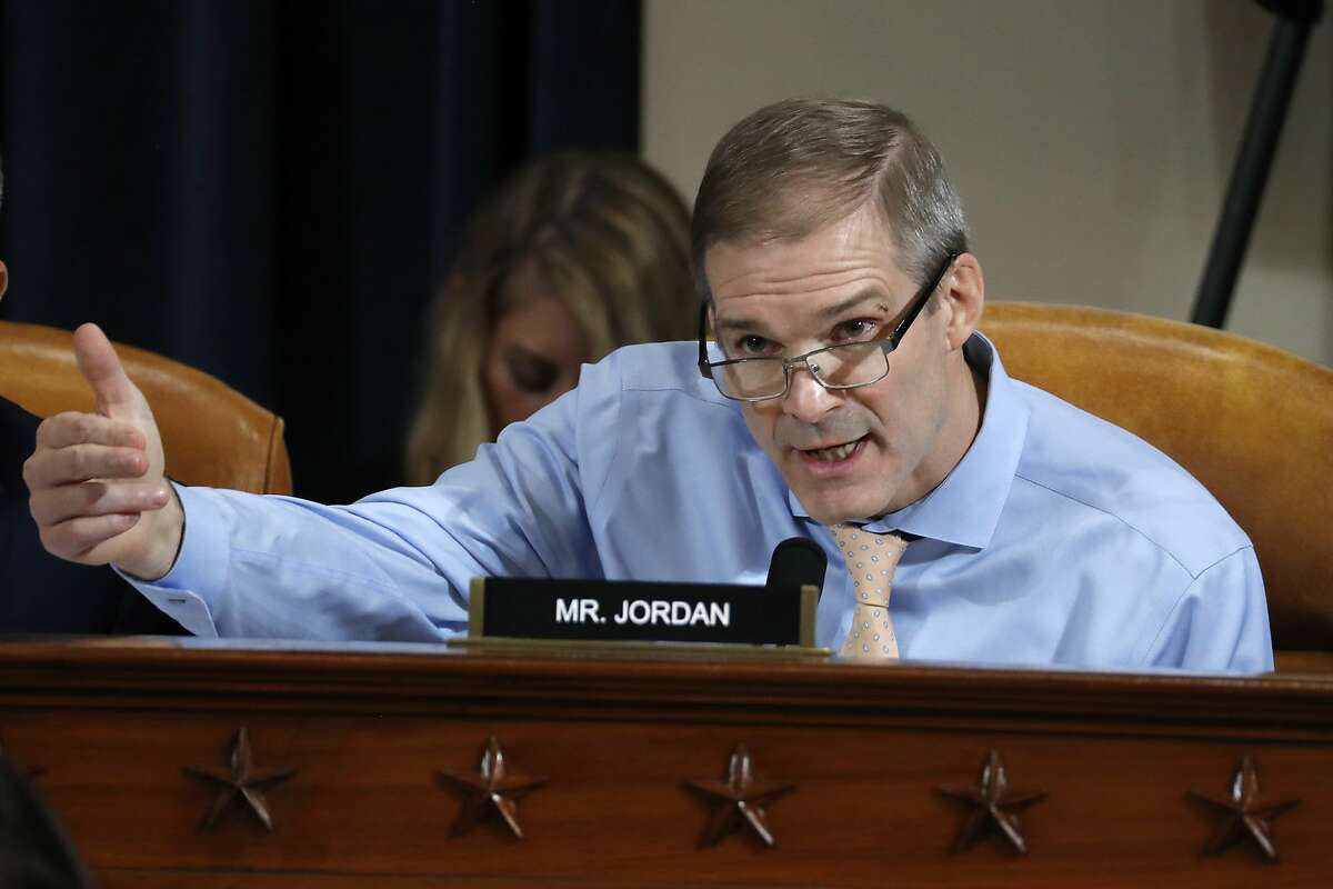 Rep. Jim Jordan, R-Ohio, questions Jennifer Williams, an aide to Vice President Mike Pence, and National Security Council aide Lt. Col. Alexander Vindman, as they testify before the House Intelligence Committee on Capitol Hill in Washington, Nov. 19, 2019, during a public impeachment hearing of President Donald Trump's efforts to tie U.S. aid for Ukraine to investigations of his political opponents.