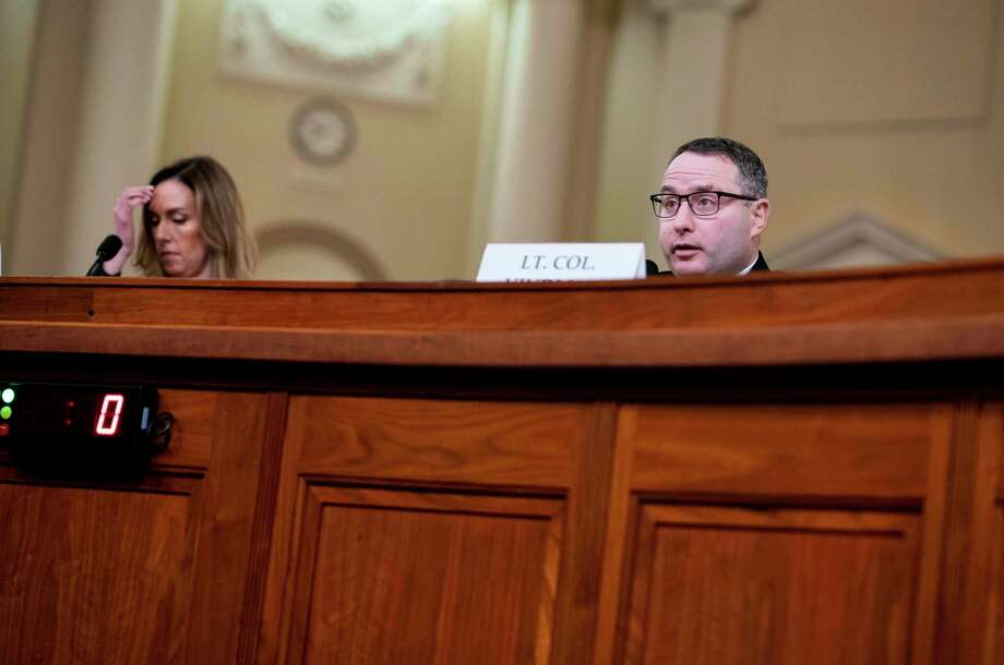 Lt. Col. Alexander Vindman and Jennifer Williams appear before the House Intelligence Committee on Nov. 19, 2019. Photo: Washington Post Photo By Melina Mara / The Washington Post