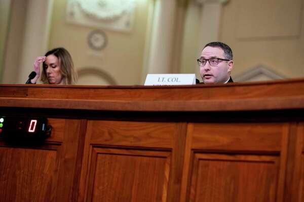Lt. Col. Alexander Vindman and Jennifer Williams appear before the House Intelligence Committee on Nov. 19, 2019.