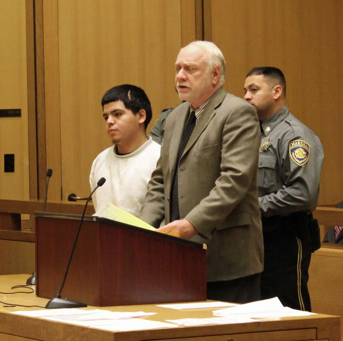 Jerry Diaz, 18, was arraigned at Stamford Supreme Court Nov. 19 with a number of charges including two counts of second-degree manslaughter. Diaz was the driver of the Nissan Altima that crashed into two utility poles in the South End on Aug. 26 that resulted in the deaths of two passengers.