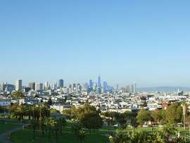 If approved, the new zoning proposed for San Francisco' s South of Market area would allow a cluster of skyscrapers markedly taller than what now exists or is allowed under current zoning. The image above -- a view from Dolores Park -- shows potential height, not actual designs, of buildings.