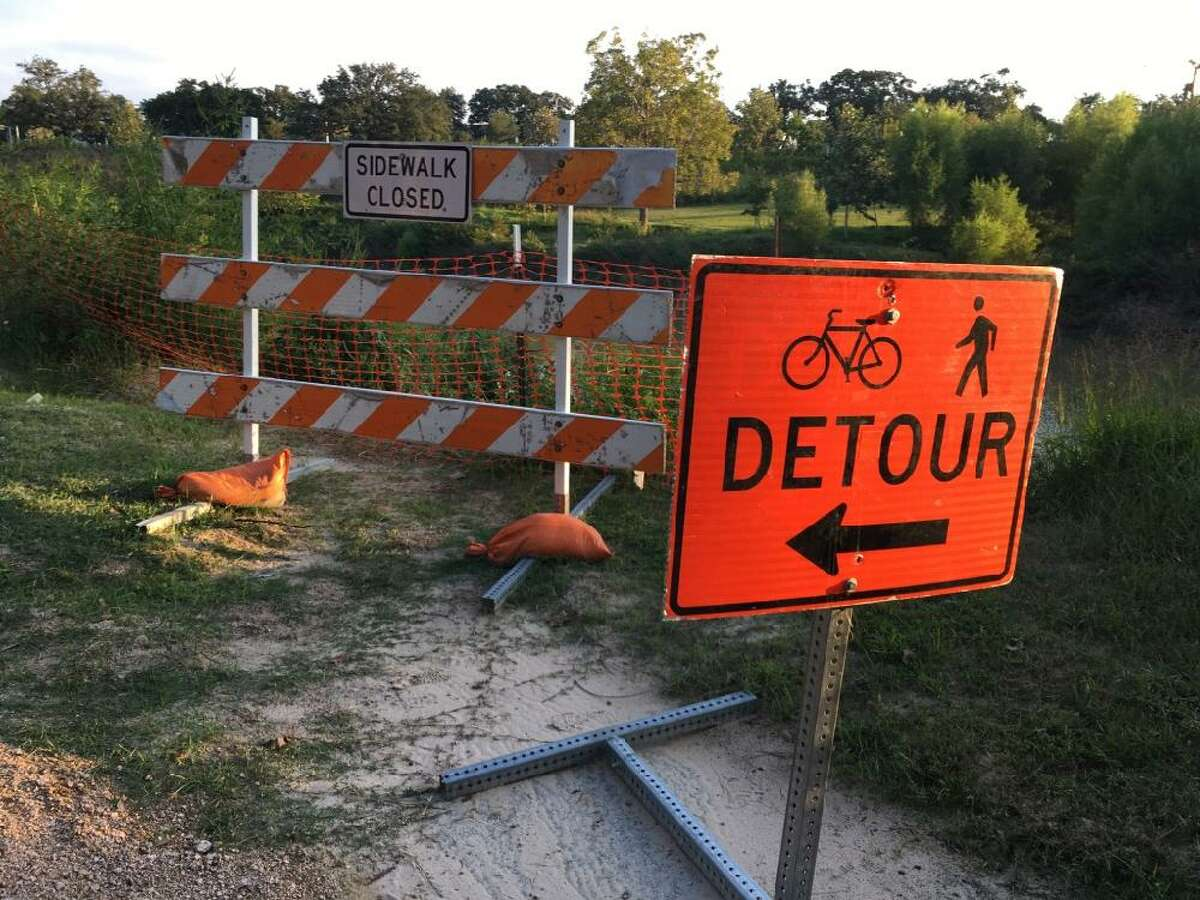 """This sidewalk upstream of the Dunlavy in Buffalo Bayou Park began collapsing in 2015 soon after the ?'improvement?"""" of the banks was finished, Nov. 10, 2019."""