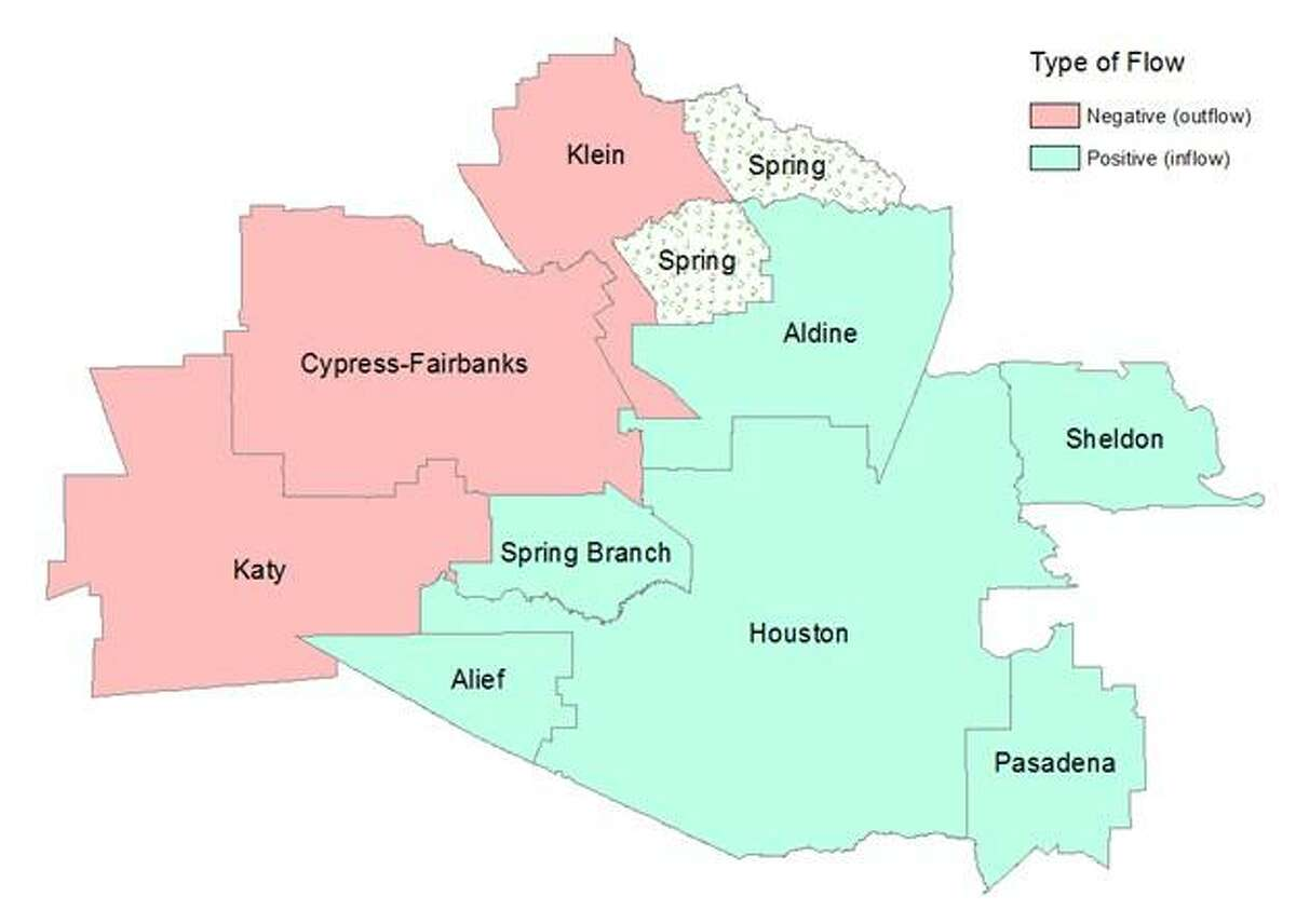 A map showing where students are tending to move to and from Spring ISD, from research by the Houston Education Research Consortium at Rice University.