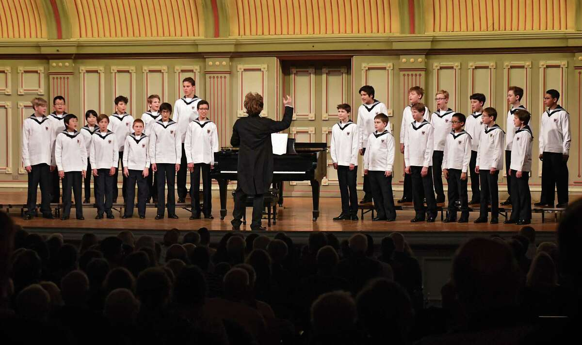 Manolo Cagnin conducts as The Vienna Boys Choir performs at Troy Savings Bank Music Hall on Wednesday, April 3, 2019 in Troy, N.Y. (Lori Van Buren/Times Union)